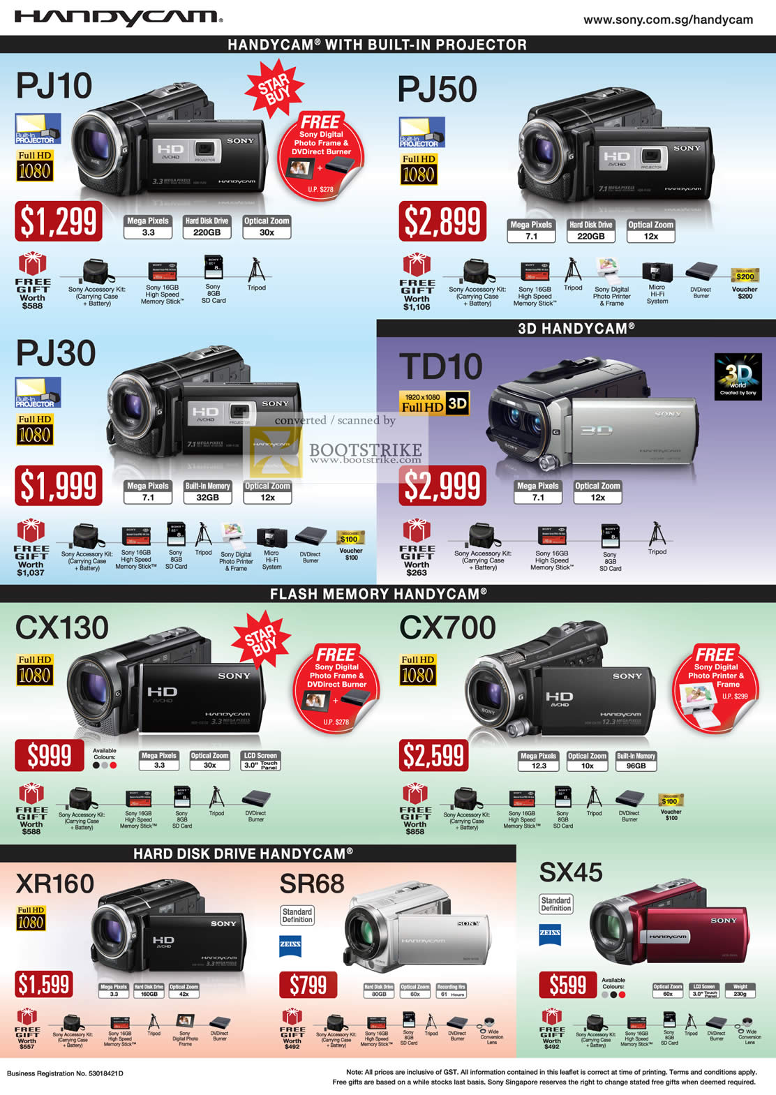 2011 price list image brochure of Sony Video Camcorders Handycam HDR