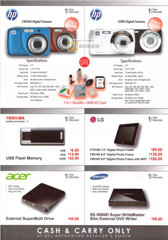 Various HP CW450 Digital Camera S300 USB Flash Memory LG