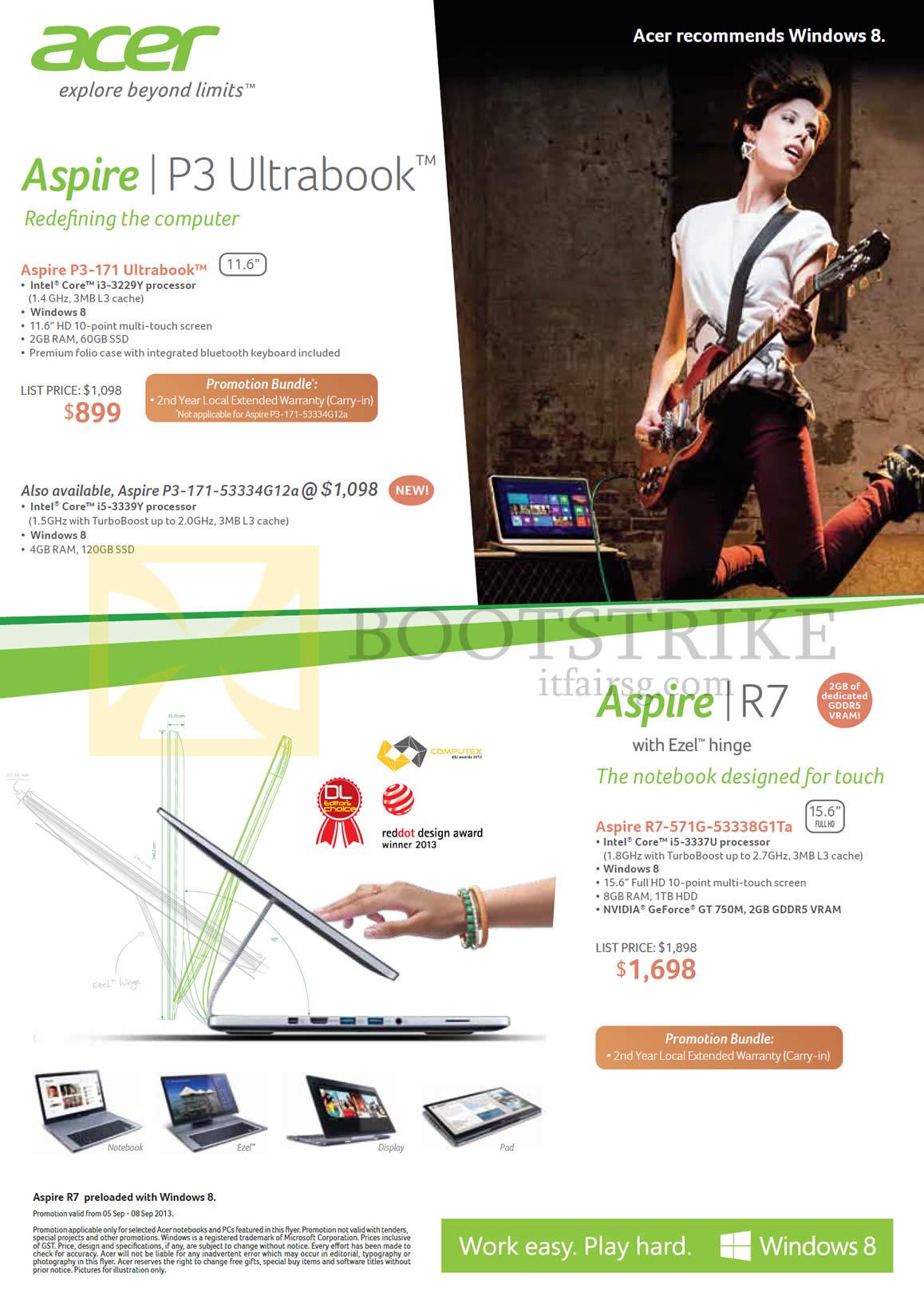 Acer Notebooks P3-171, P3-171-53334G12a, R7-571G-53338G1Ta