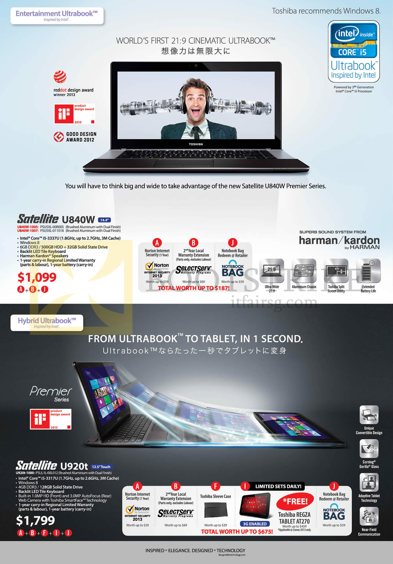 brochure of Toshiba Notebooks Satellite U840W-1005 1007, U920t-1000