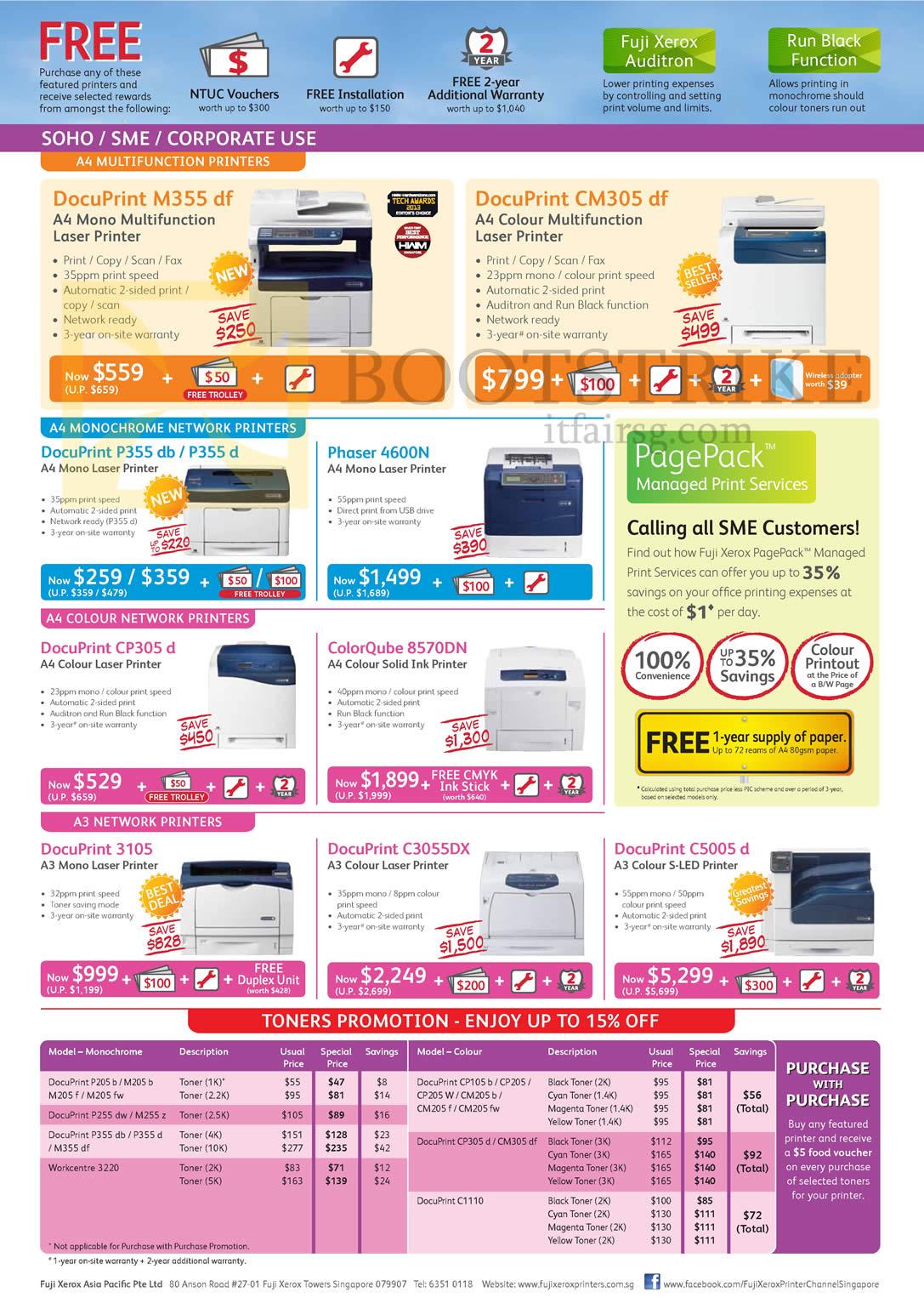 fujifilm fuji xerox printers docuprint m355 df cm305 df