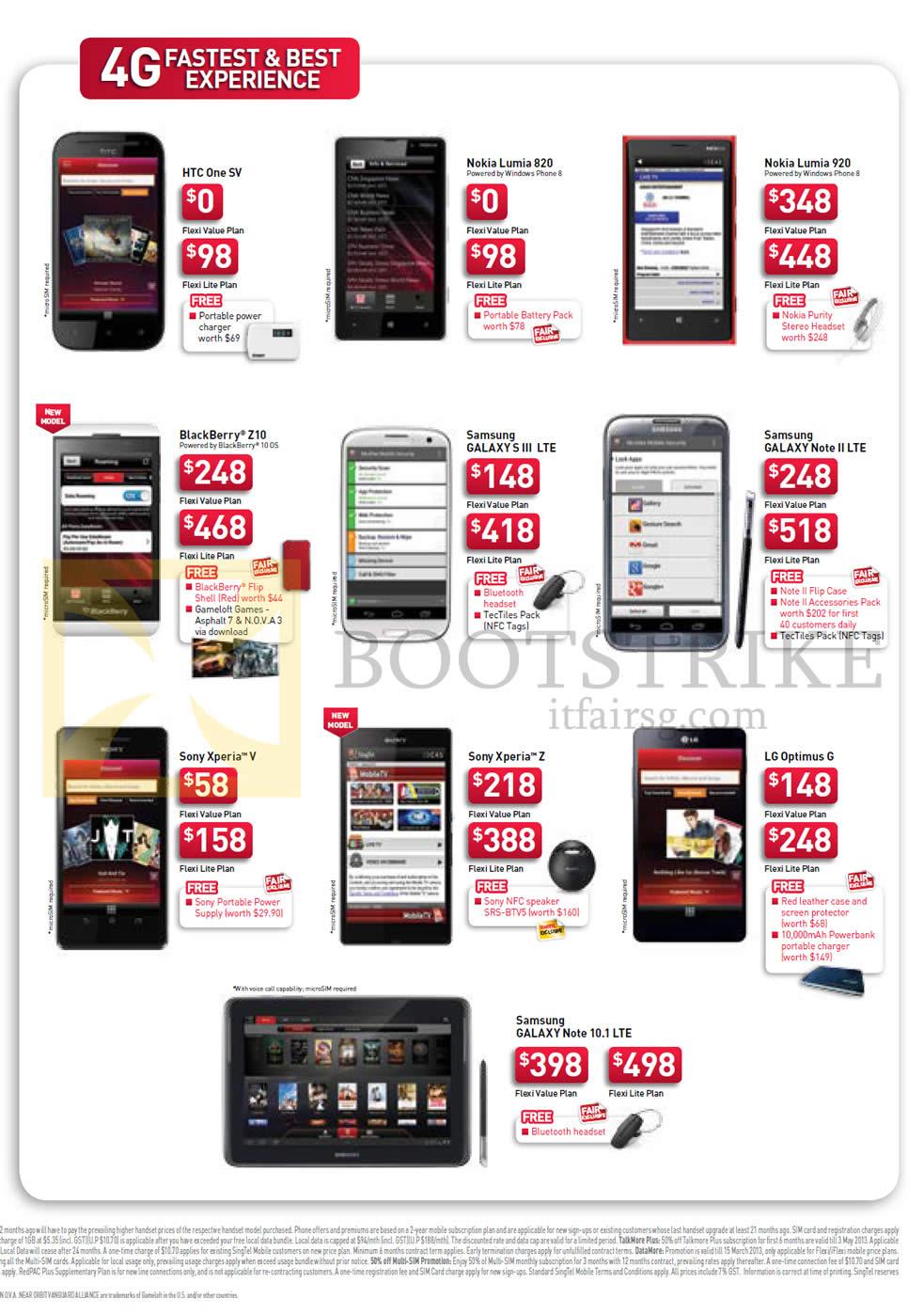 IT SHOW 2013 price list image brochure of Singtel Mobile Phones HTC