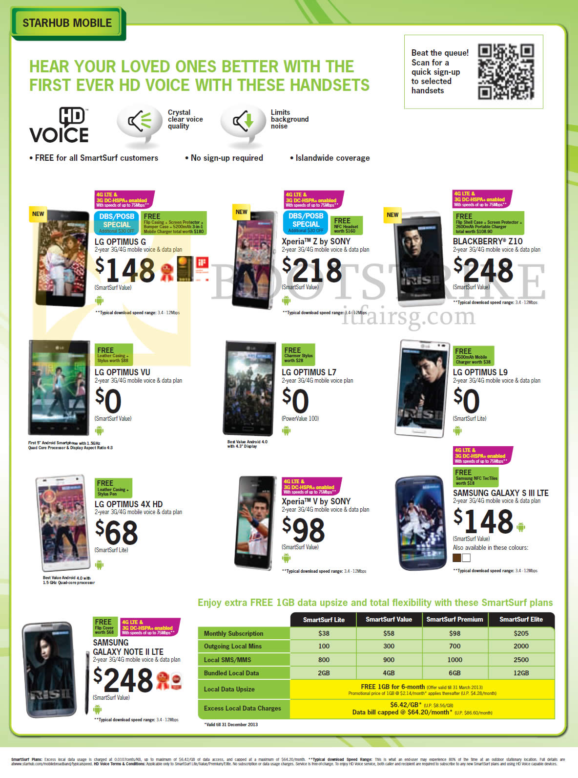 2013 price list image brochure of Starhub Mobile Phones LG Optimus
