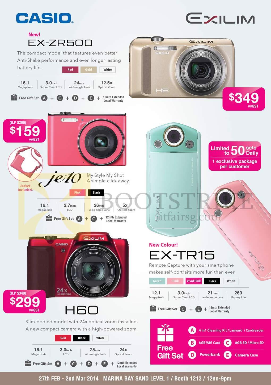 Casio Digital Cameras Exilim EX ZR500 JE10 H60 TR15