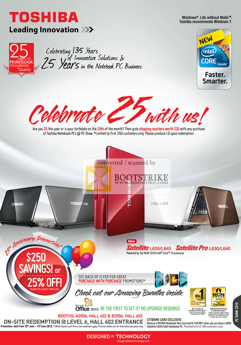toshiba 25th anniversary promotion pc show 2010 price list. Black Bedroom Furniture Sets. Home Design Ideas
