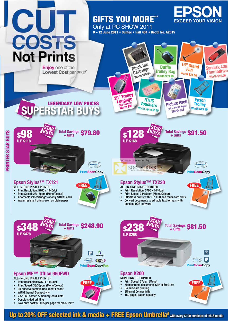 PC Show 2011 price list image brochure of Epson Printers Inkjet Stylus