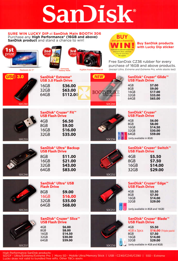 image brochure of Sandisk Extreme USB Flash Drive, Lucky Dip, Cruzer ...