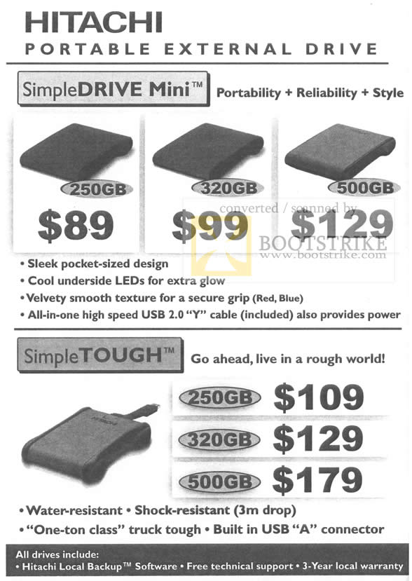 ... Hitachi Portable External Storage Drive SimpleDrive Mini SimpleTough