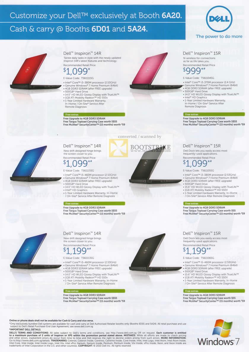 ... Notebooks Inspiron 14R Inspiron 15R SITEX 2010 Price List Brochure