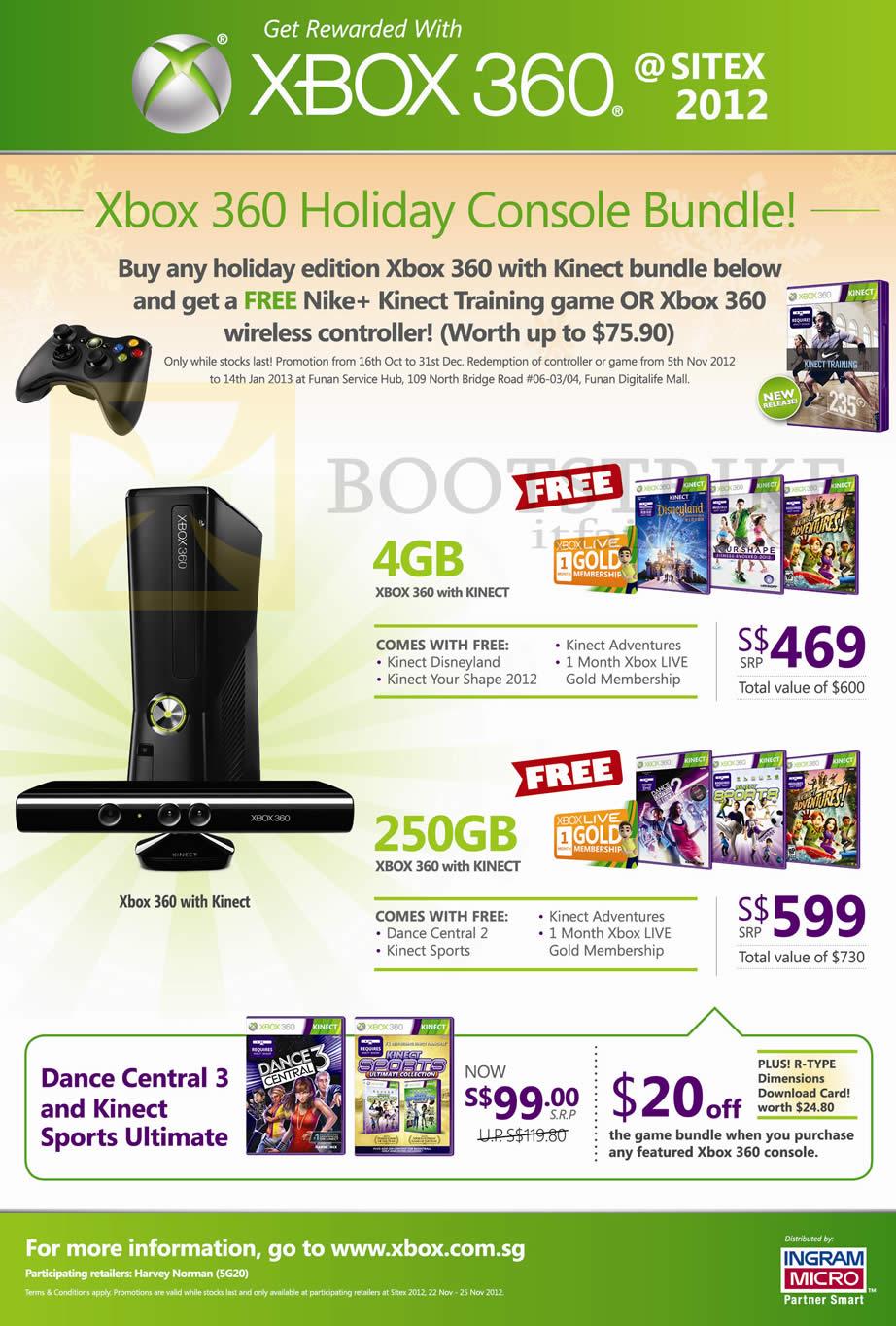 Microsoft xbox 360 holiday console bundle kinect 4gb 250gb dance central 3 kinect sports - Xbox 360 console kinect bundle ...
