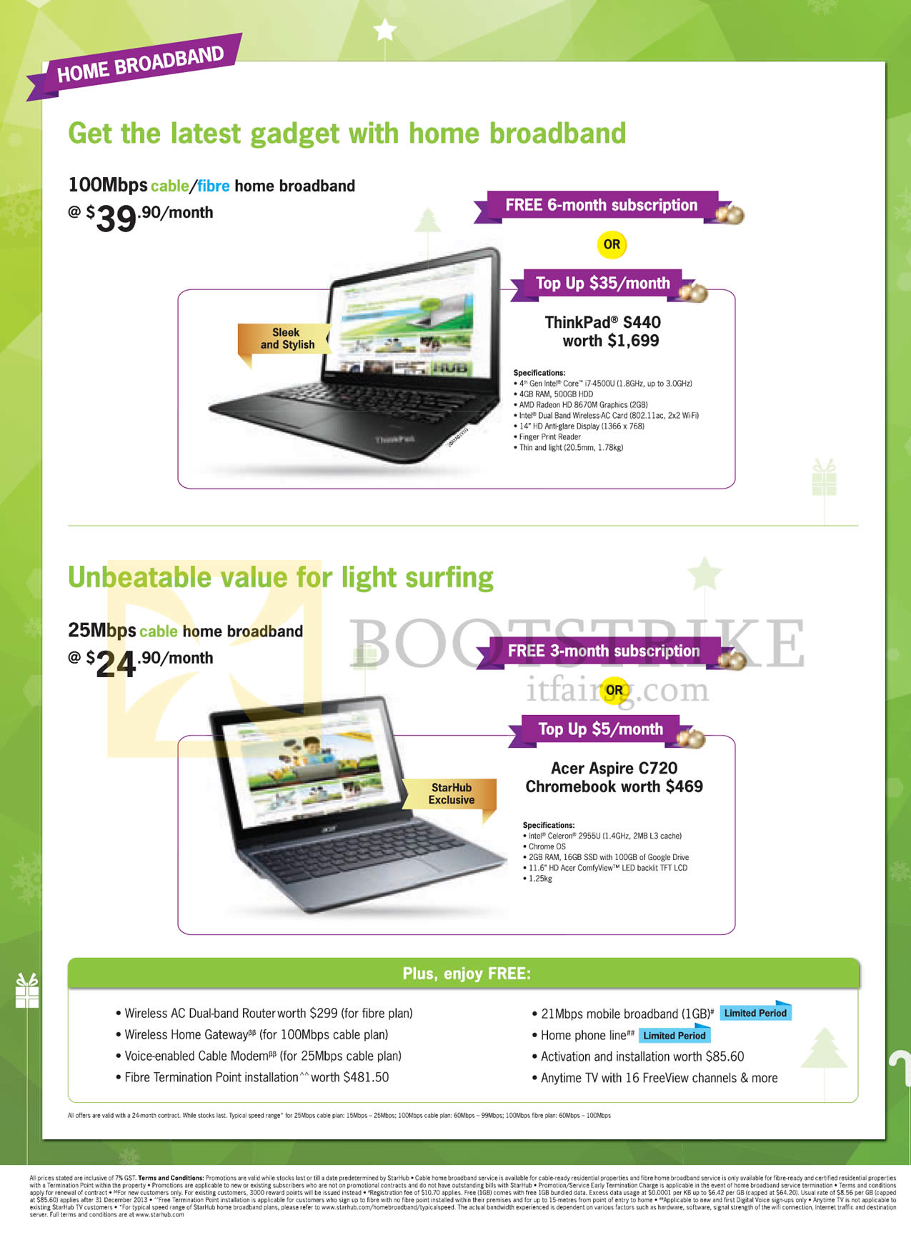 Notebook, 25Mbps 24.90 Free 3 Month Or Acer Aspire C720 Chromebook